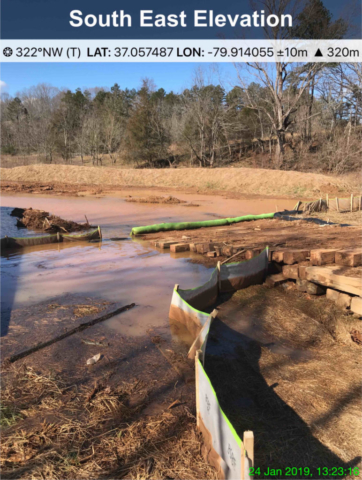 Earth disturbance to edge of the water body with no erosion control.  Failed sediment controls allowing sedimentation to wash next to and under bridge and into the creek.