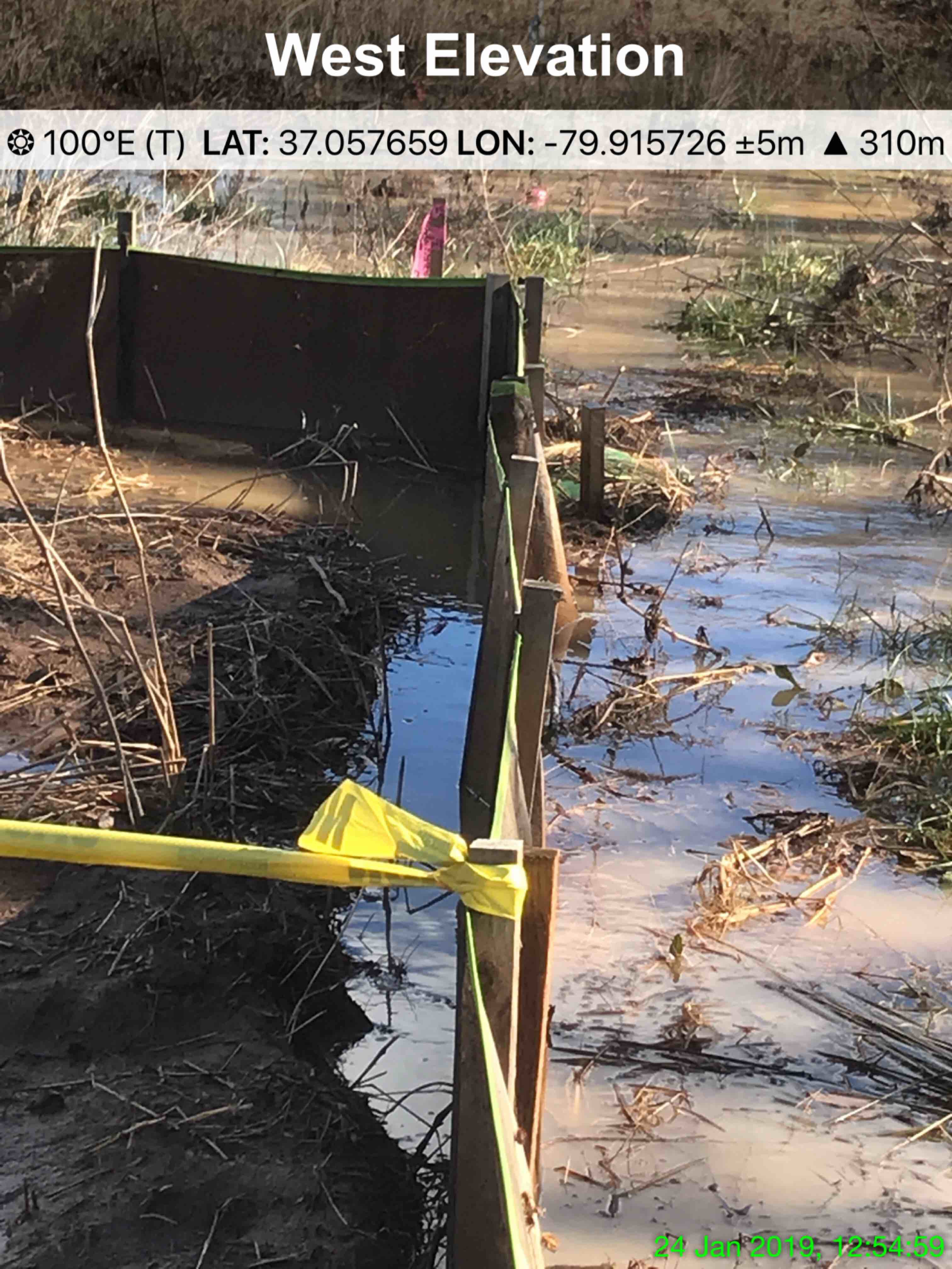 Failed silt fence